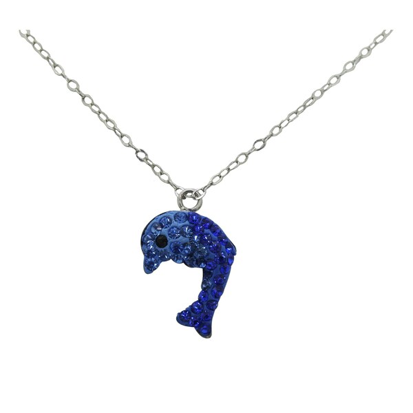 Gioelli Sterling Silver and Enamel Blue Crystal Dolphin Necklace