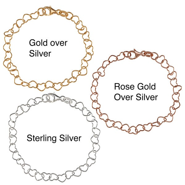 Sterling Essentials Silver 7-inch Sweethearts Charm Bracelet