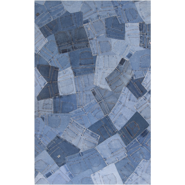 Woven Baham Denim Blue Wool Rug (5' x 8')