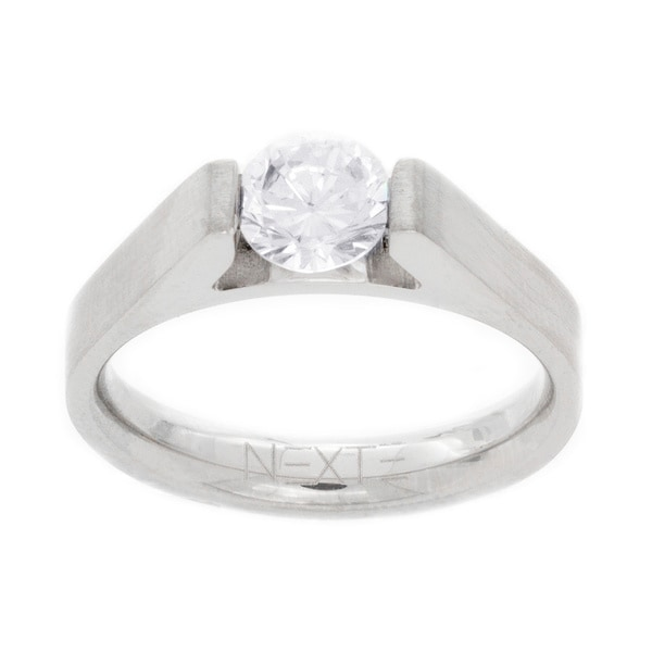 NEXTE Jewelry Metal Tension-set Cubic Zirconia Solitaire Ring