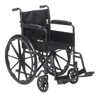 Drive Medical Silver Sport 1 Wheelchair with Full Arms and Swing Away Removable Footrest - Black