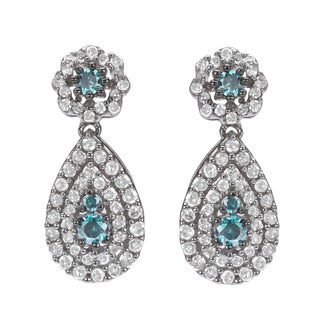 10k White Gold 1ct TDW Blue and White Diamond Halo Earrings