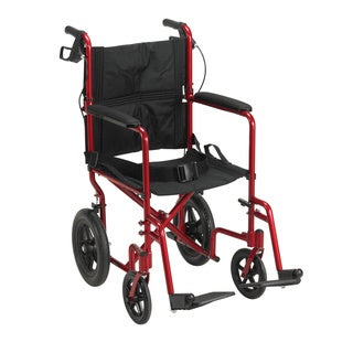 Drive Medical Lightweight Expedition Transport 19-inch Wheelchair with Hand Brakes (Red)