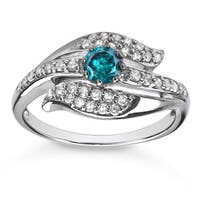 Sterling Silver 5/8ct TDW Blue and White Diamond Ring