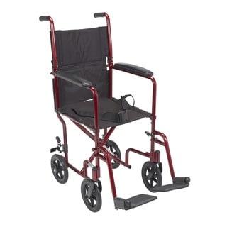 Lightweight 17-inch Red Transport Wheelchair