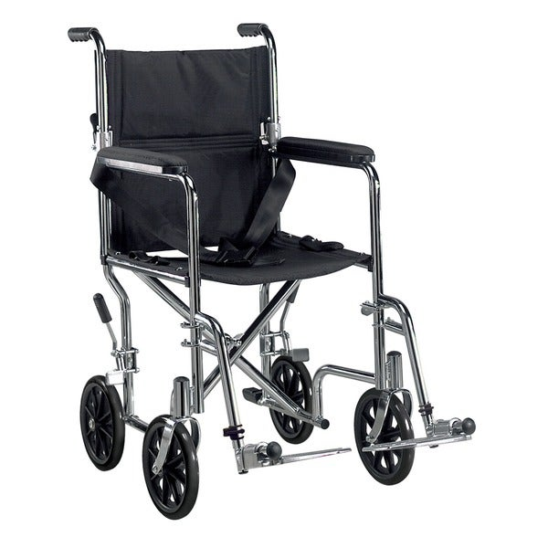 Drive Medical Go Cart Light Weight Steel Transport Wheelchair, with Swing Away Footrest, and 19-inch Seat