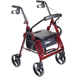 Drive Medical Duet Dual Function Burgundy Transport Wheelchair/ Walker/ Rollator