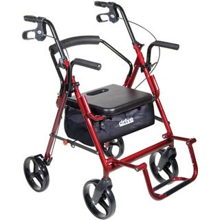 Drive Medical Duet Dual Function Burgundy Transport Wheelchair/ Walker/ Rollator|https://ak1.ostkcdn.com/images/products/7280272/P14755795.jpg?impolicy=medium