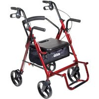 Drive Medical Duet Dual Function Transport Wheelchair Rollator Rolling Walker, Burgundy