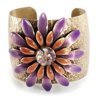 Sweet Romance Purple Pink enamel Daisy Retro 1960s Flower Cuff Bracelet