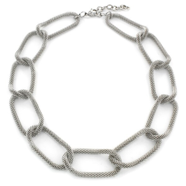 West Coast Jewelry Stainless Steel Mesh Link Necklace