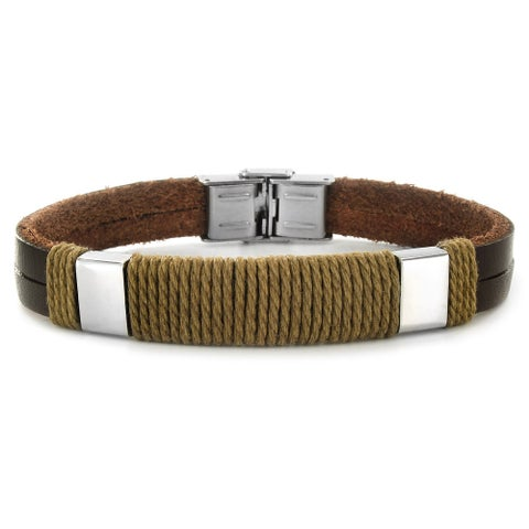 Crucible Stainless Steel and Leather Men's Bracelet with Twisted Rope