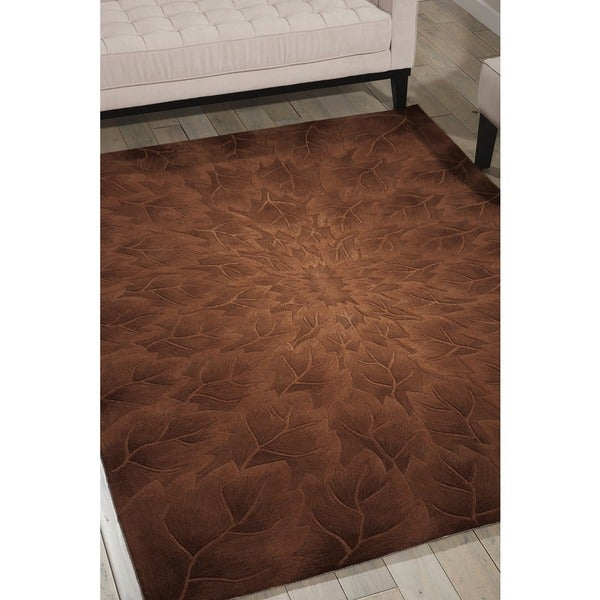 Nourison Hand-tufted Moda Brown Leaf Pattern Rug (8' x 11')