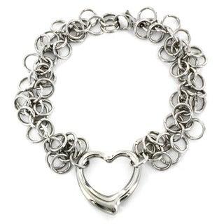 Stainless Steel Open Heart Charm Bracelet