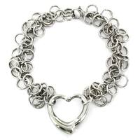 Stainless Steel Open Heart Charm Bracelet