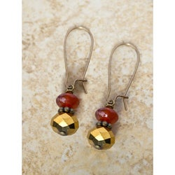 Vintage Carnelian with Disco Gold Earings
