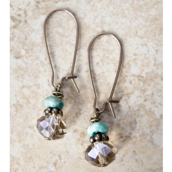 Vintage Smokey Quartz/ Turquoise Earrings