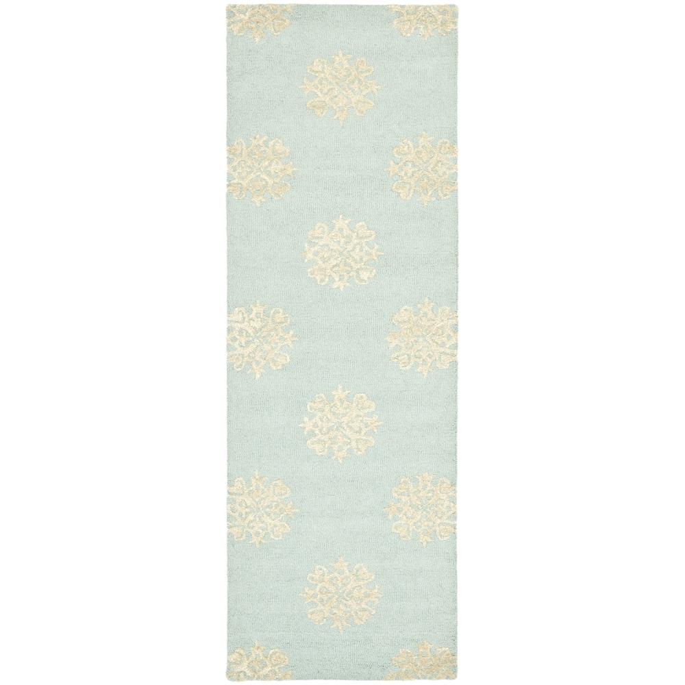 Safavieh Handmade Soho Medallion Light Blue Wool Rug (2'6 x 14')