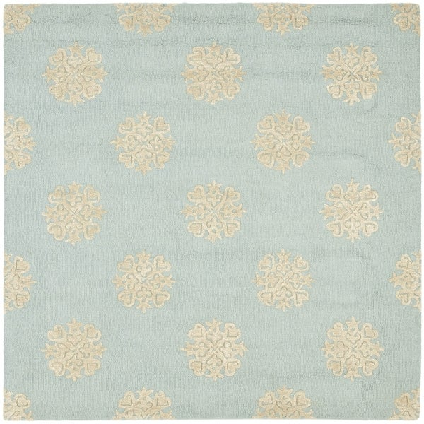 Safavieh Handmade Soho Medallion Light Blue Wool Rug (8' Square)