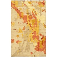Safavieh Handmade Soho Splashes Modern Abstract Beige Wool Rug (6' x 9') - 6' x 9'