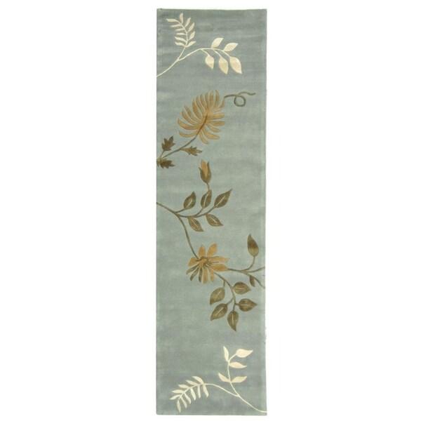 Safavieh Handmade Soho Twigs Light Blue New Zealand Wool Rug (2'6 x 6')