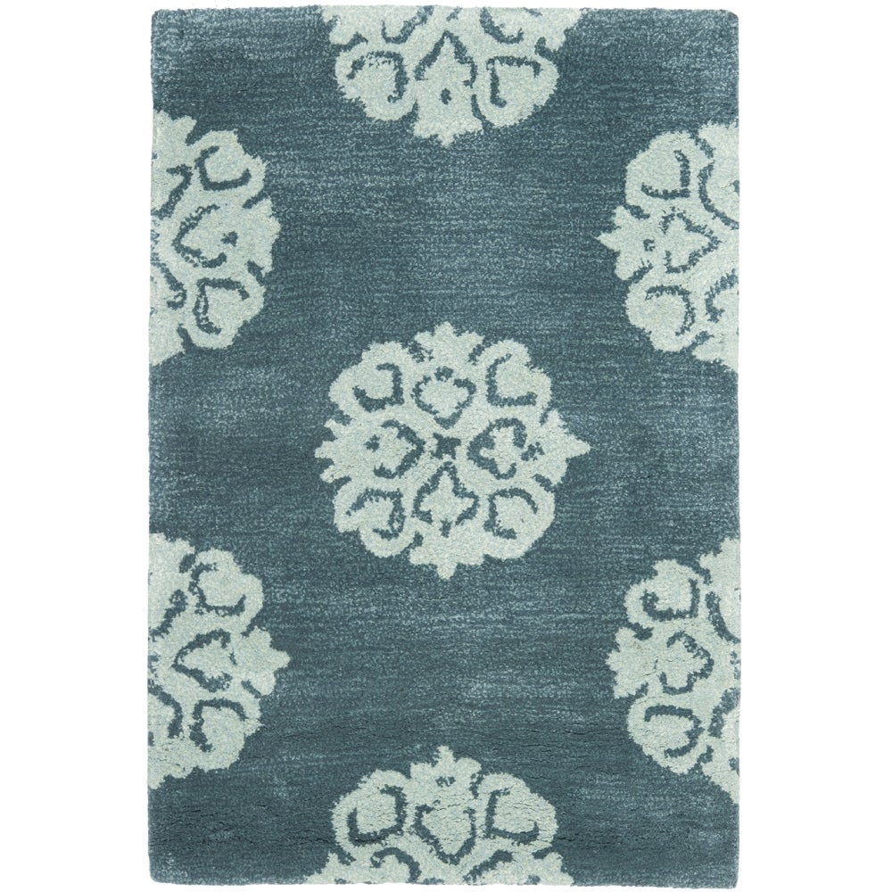 Safavieh Handmade Medallion Blue New Zealand Wool Rug (2' x 3')