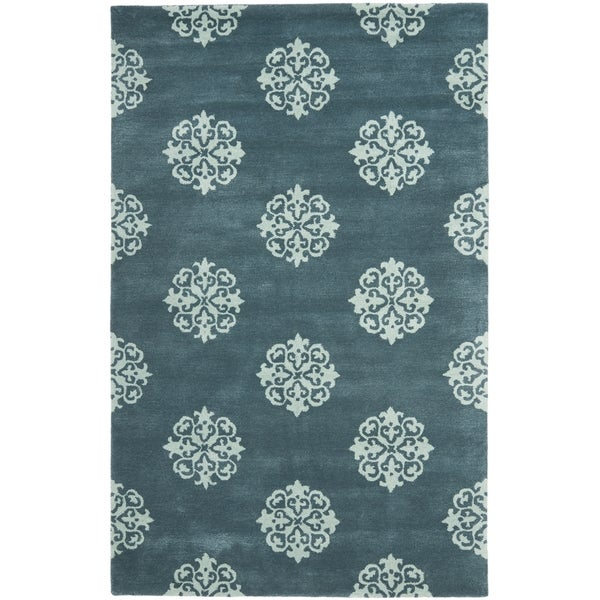 Safavieh Handmade Medallion Blue New Zealand Wool Rug (3'6 x 5'6')