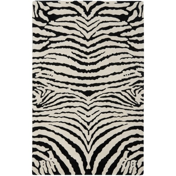 Safavieh Handmade Zebra Ivory/ Black New Zealand Wool Rug (7'6 x 9'6)