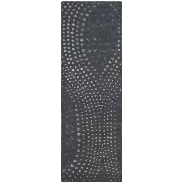 Safavieh Handmade Soho Abstract Wave Dark Grey Wool Runner Rug (2' 6 x 10')