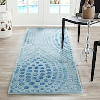 Safavieh Handmade Deco Wave Light Blue New Zealand Wool Rug - 2'6 x 14'