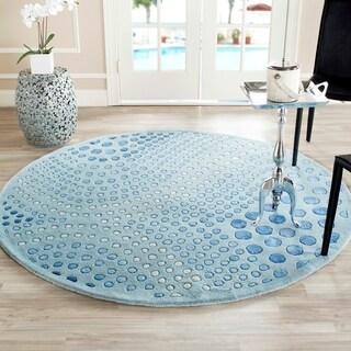 Safavieh Handmade Deco Wave Light Blue New Zealand Wool Rug (8' Round)
