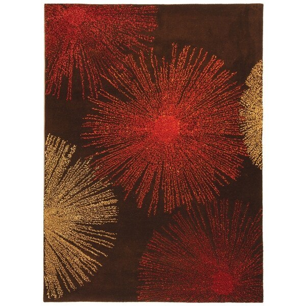 Safavieh Handmade Soho Burst Brown New Zealand Wool Rug (2'6 x 4')
