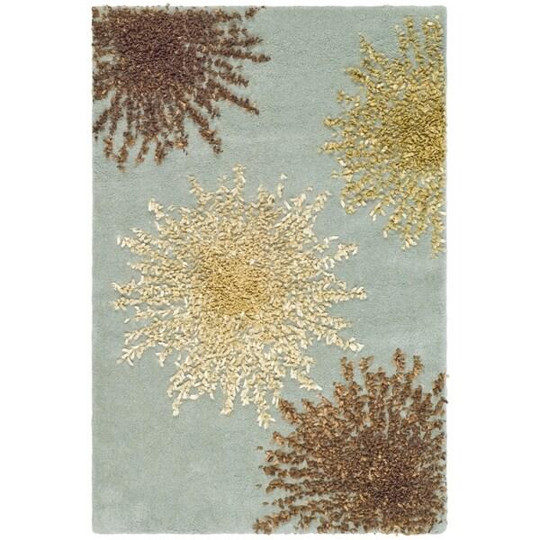 Safavieh Handmade Soho Burst Blue New Zealand Wool Rug (2'6 x 4')