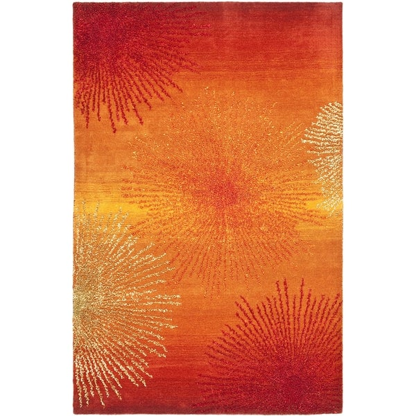 Safavieh Handmade Soho Burst Rust New Zealand Wool Rug (2'6 x 4')