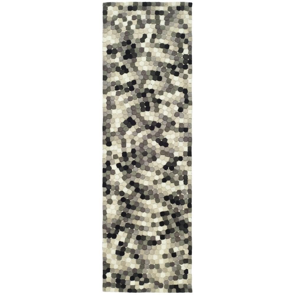 Safavieh Handmade Soho Mosaic Modern Abstract Black Wool Runner Rug (2' 6 x 14')