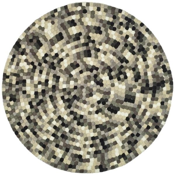 Safavieh handmade soho mosaic modern abstract black wool for Round area rugs contemporary