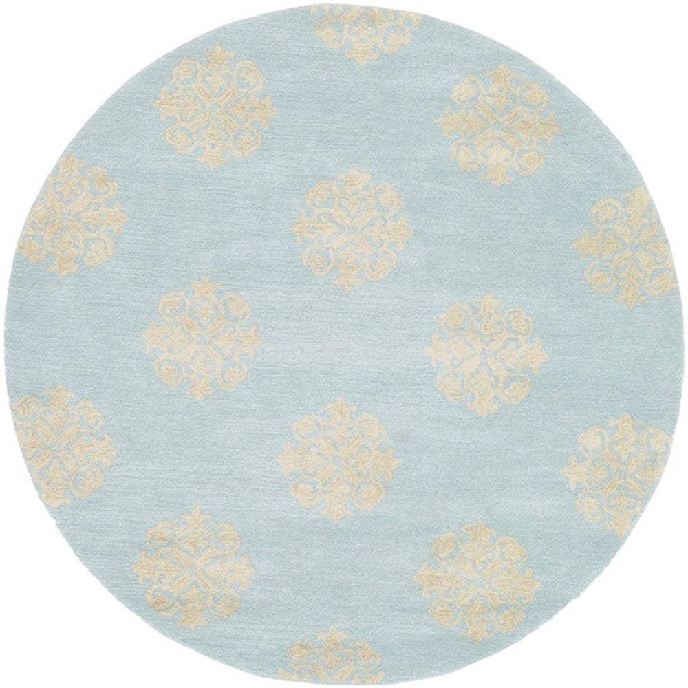 Safavieh Handmade Soho Medallion Light Blue Wool Rug (4' Round)