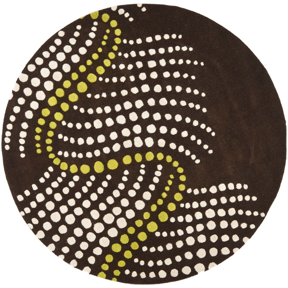 Safavieh Handmade Soho Waves Modern Abstract Brown Wool Rug (8' x 8' Round)