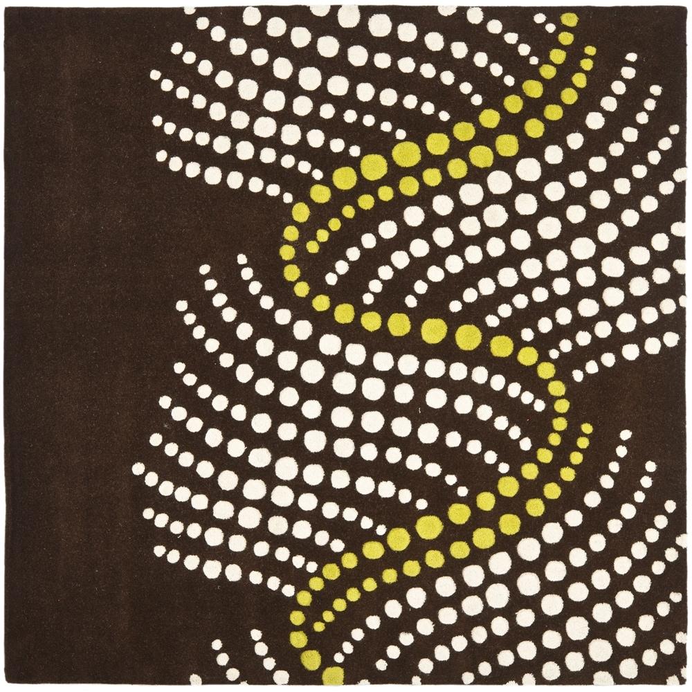 Safavieh Handmade Soho Waves Modern Abstract Brown Wool Rug (8' x 8' Square)