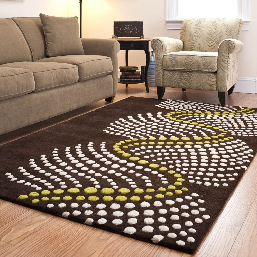 Safavieh Handmade Soho Waves Modern Abstract Brown Wool Rug (9' 6 x 13' 6)