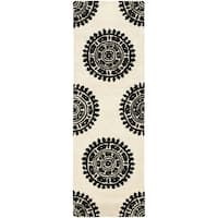 "Safavieh Handmade Soho Chrono Ivory/ Black New Zealand Wool Rug - 2'6"" x 12'"