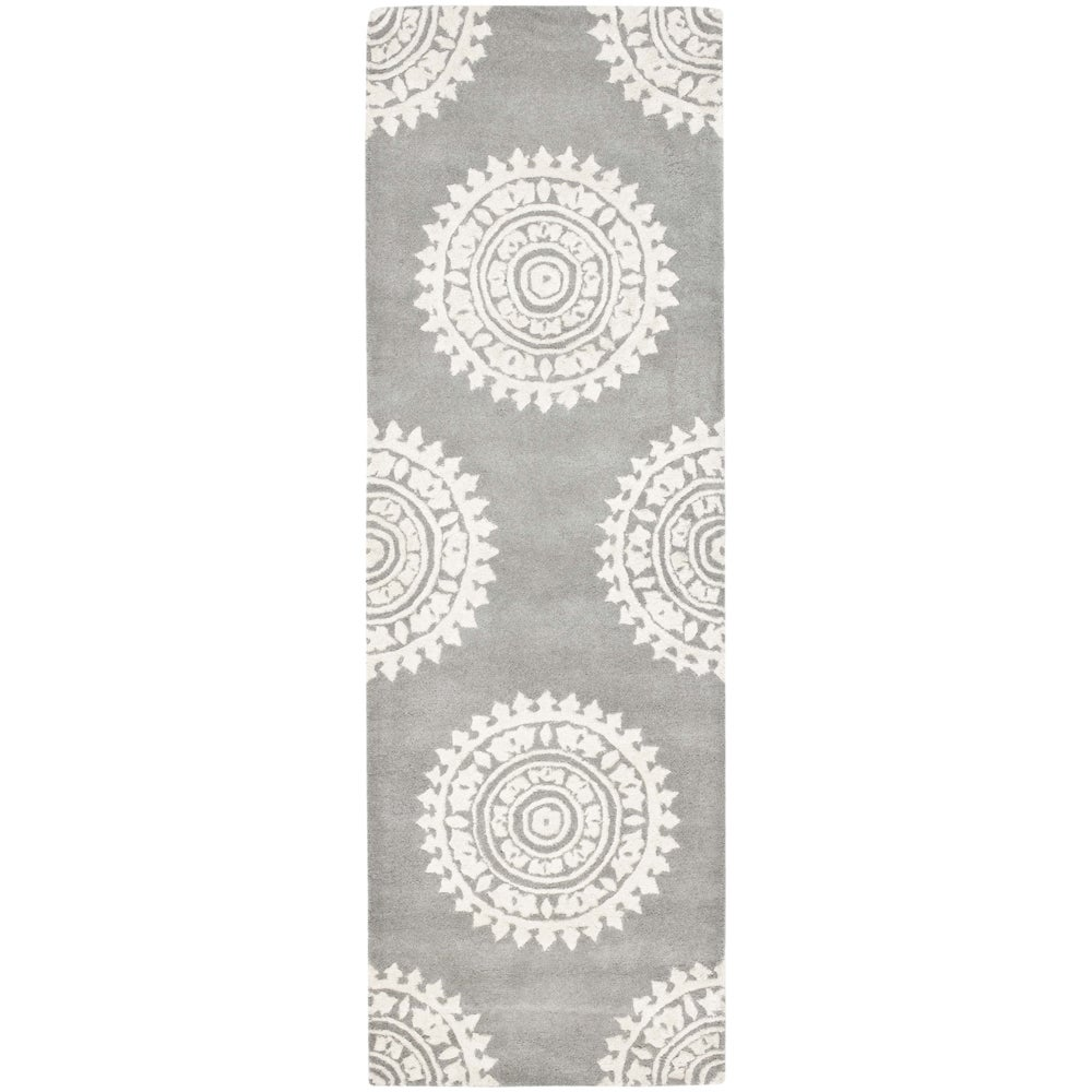 Safavieh Handmade Soho Chrono Grey/ Ivory New Zealand Wool Rug (2'6 x 10')