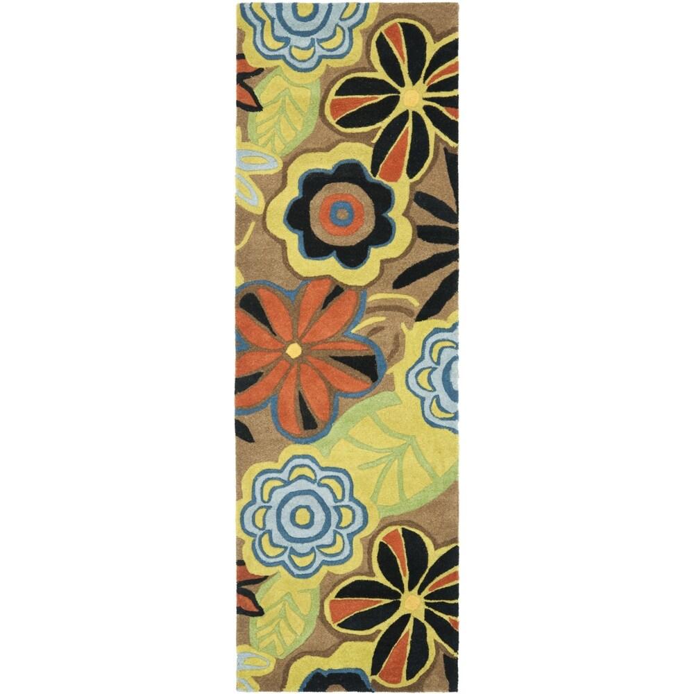Safavieh Handmade Flower Power Brown New Zealand Wool Rug (2'6 x 12')
