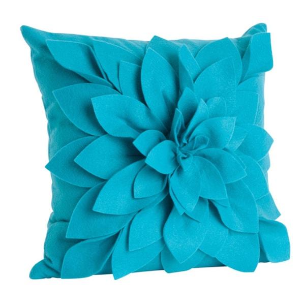 Ivory Felt Flower Design Pillow (17 x 17)