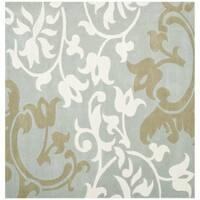 Safavieh Handmade Silhouettes Blue/Grey New Zealand Wool Rug - 8' x 8' Square