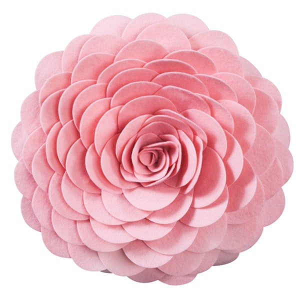 Round Felt Flower Decorative Pillow
