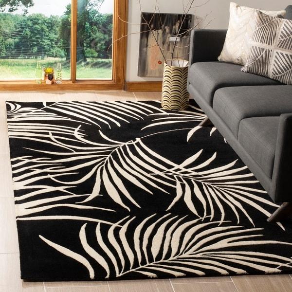 Safavieh Handmade New Zealand Wool Ferns Black Rug - 8' x 10'