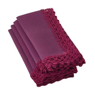 Crochet Lace Violet Napkins (Set of 4)