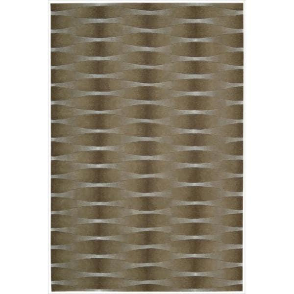 Nourison Hand-tufted Moda Brown Geometric Rug (7'6 x 9'6)