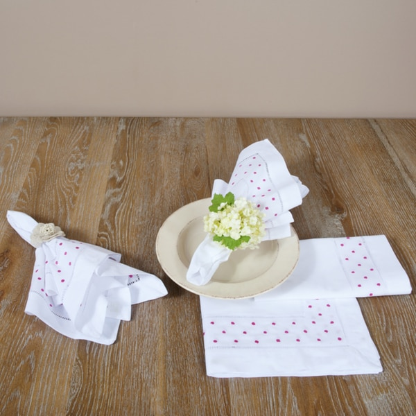 Embroidered and Hemstitched Napkins (Set of 4)